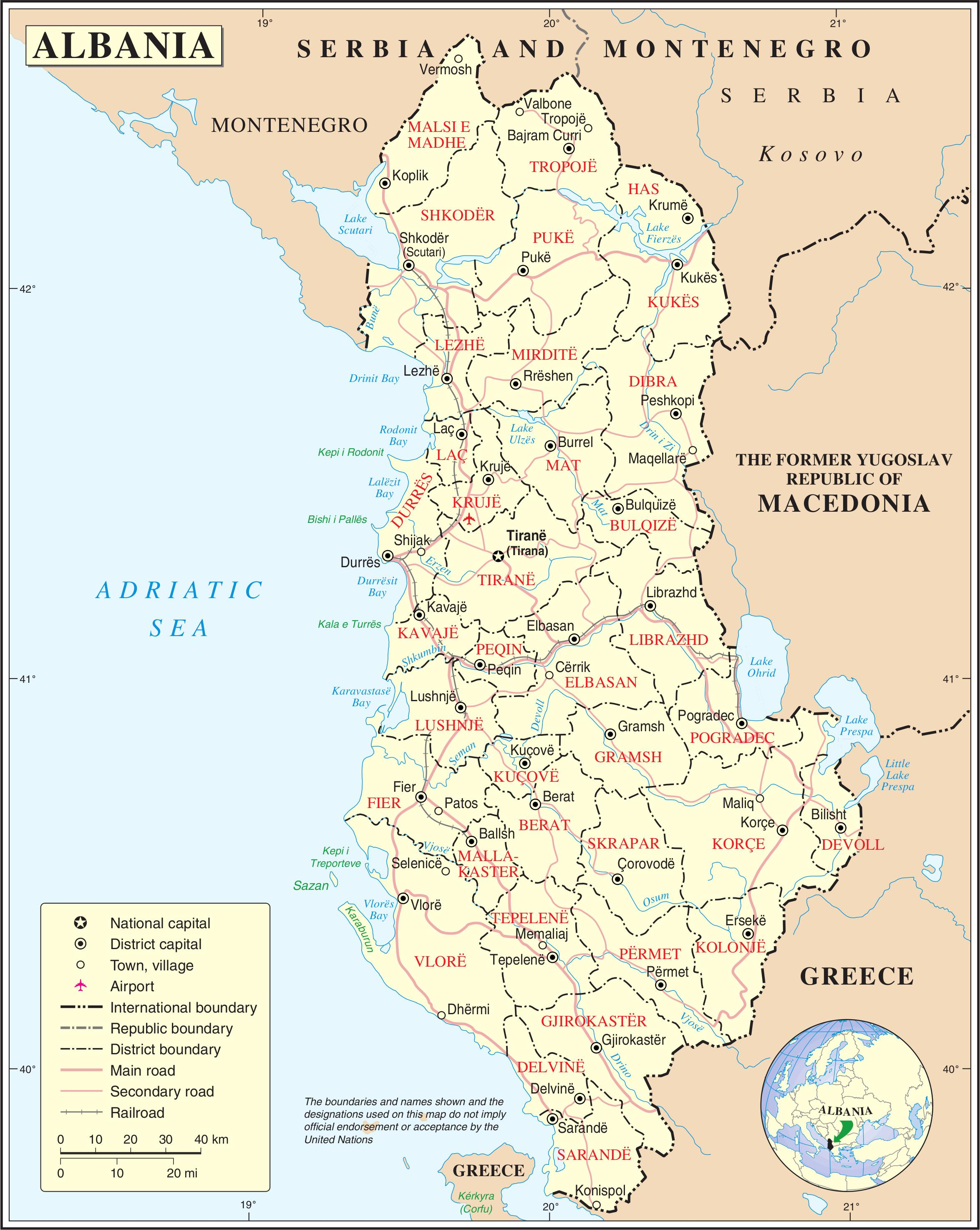 Albania Terkep Varosok Terkep Albania A Varosok Del Europaban